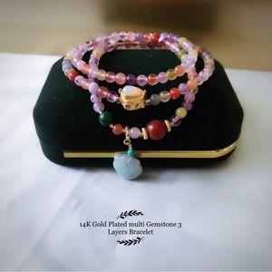 14K Gold Plated multi Gemstone 3 Layers Bracelet / Necklace